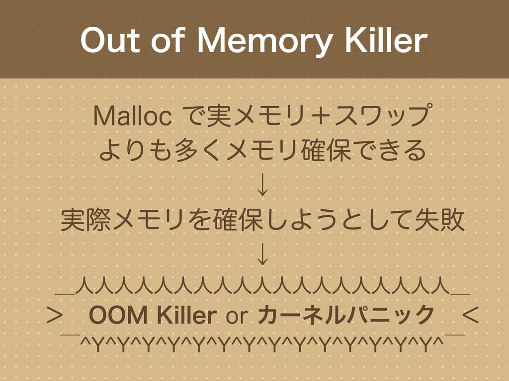 Out of Memory Killer Malloc で実メモリ+スワップ よりも多くメモリ...