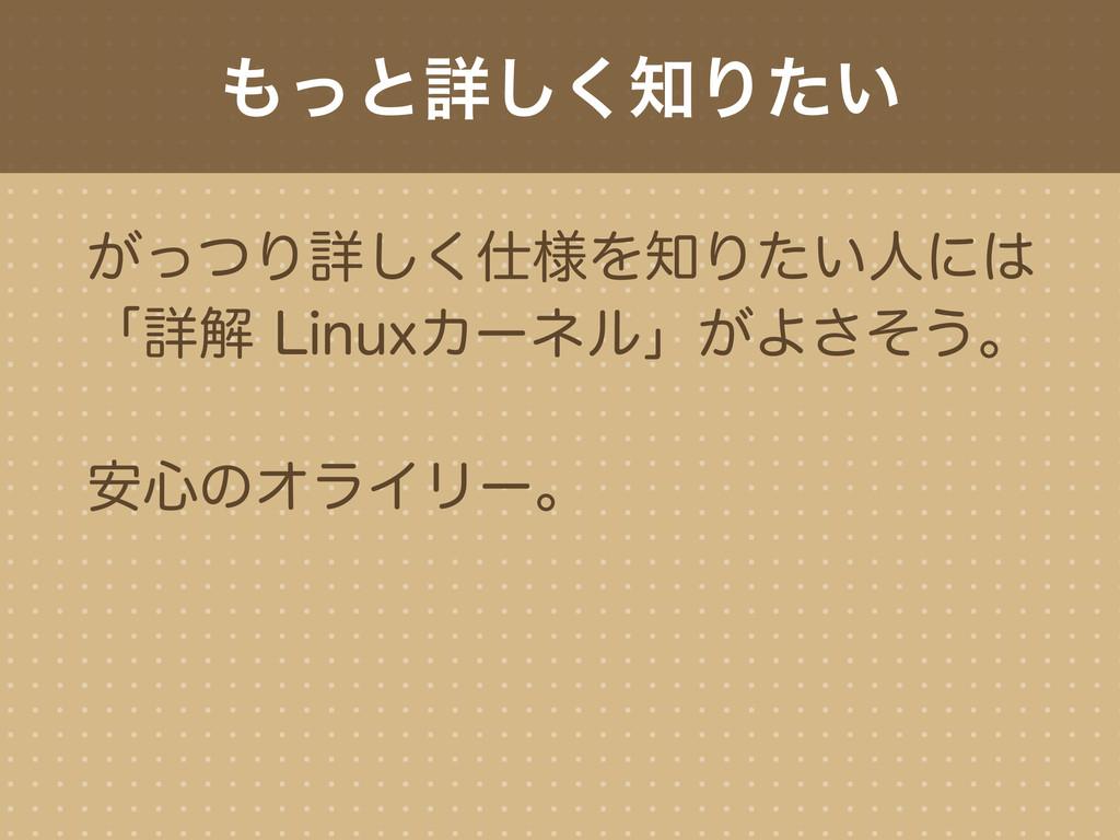 もっと詳しく知りたい がっつり詳しく仕様を知りたい人には 「詳解 Linuxカーネル」がよさそ...