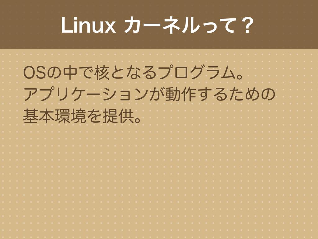 Linux カーネルって? OSの中で核となるプログラム。 アプリケーションが動作するための ...