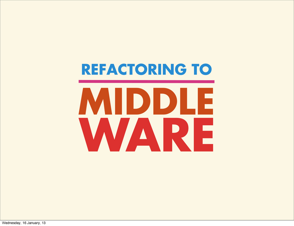 MIDDLE REFACTORING TO WARE Wednesday, 16 Januar...