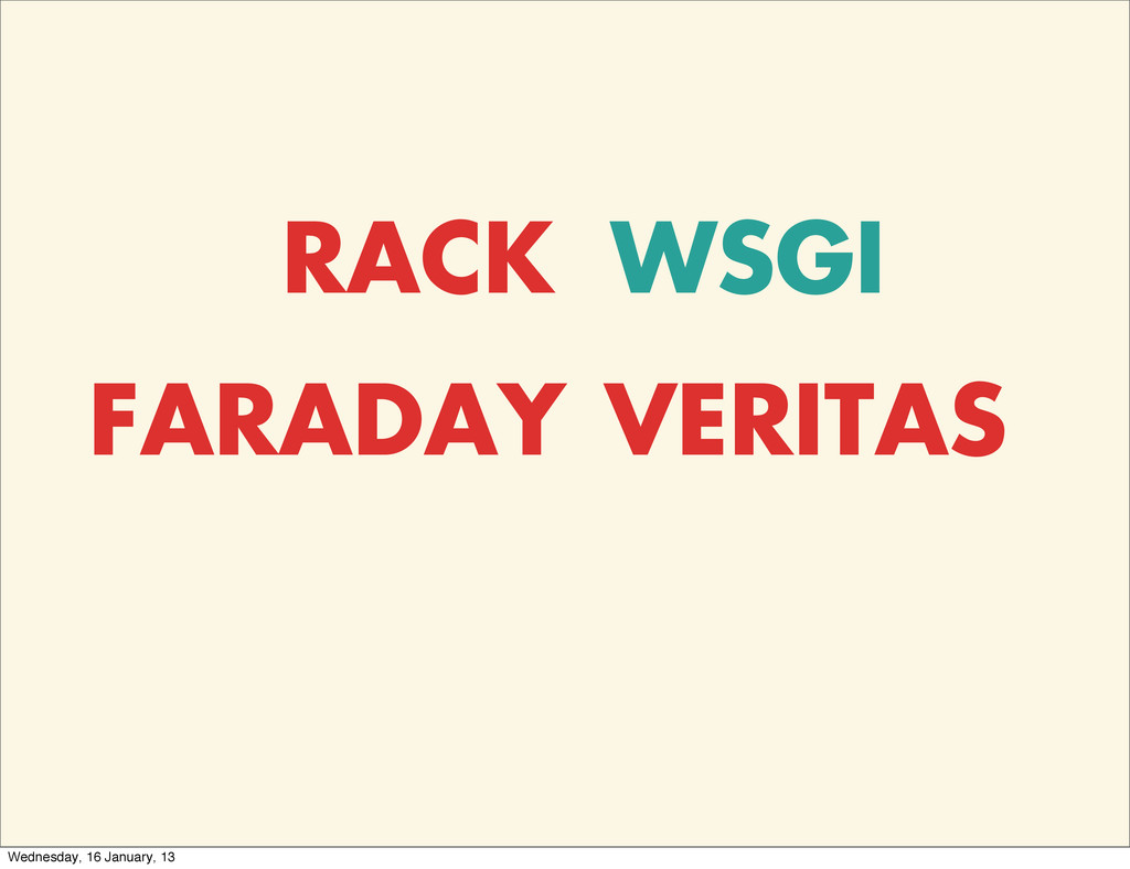 RACK WSGI FARADAY VERITAS Wednesday, 16 January...