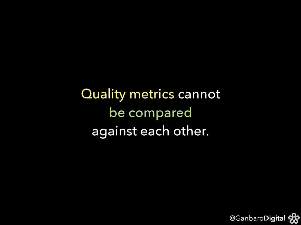 @GanbaroDigital Quality metrics cannot be compa...