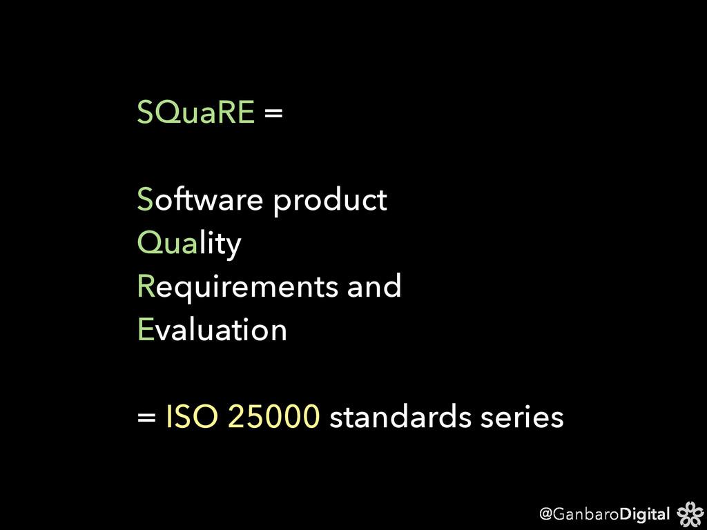@GanbaroDigital SQuaRE = Software product Quali...