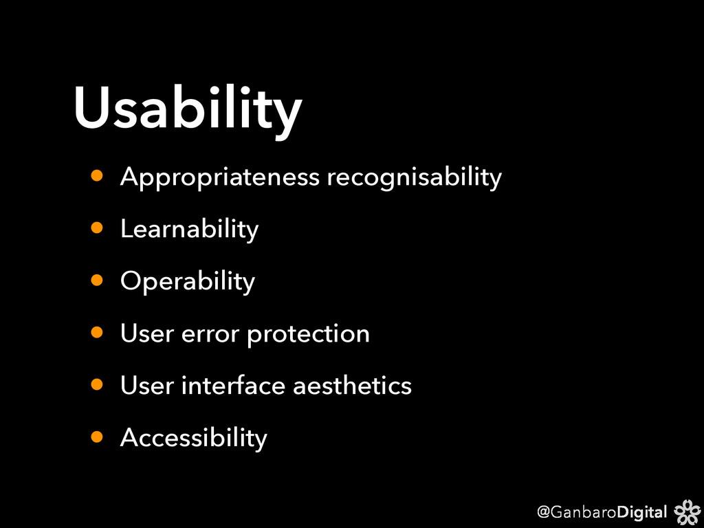 @GanbaroDigital Usability • Appropriateness rec...