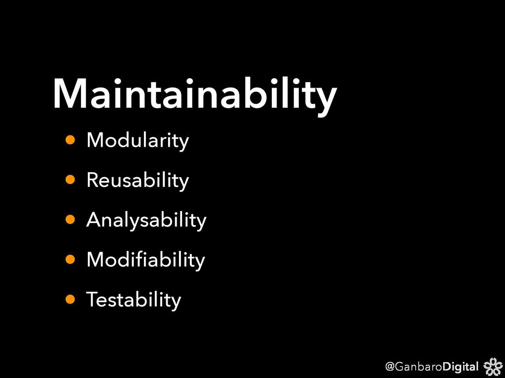 @GanbaroDigital Maintainability • Modularity • ...