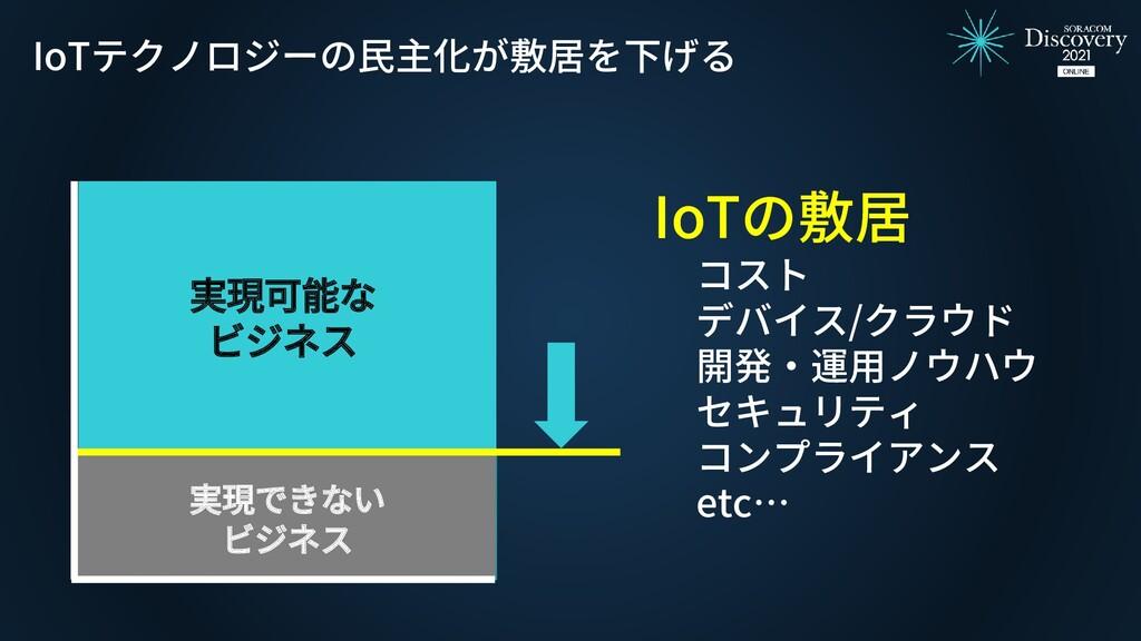 実現可能な ビジネス IoTテクノロジーの民主化が敷居を下げる IoTの敷居 コスト デバイス...