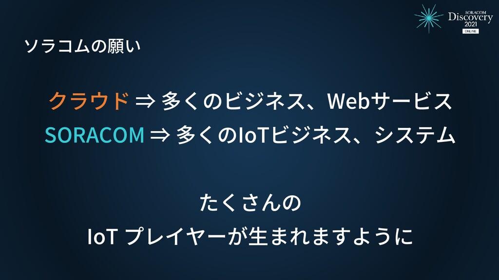 クラウド ⇒ 多くのビジネス、Webサービス SORACOM ⇒ 多くのIoTビジネス、システ...