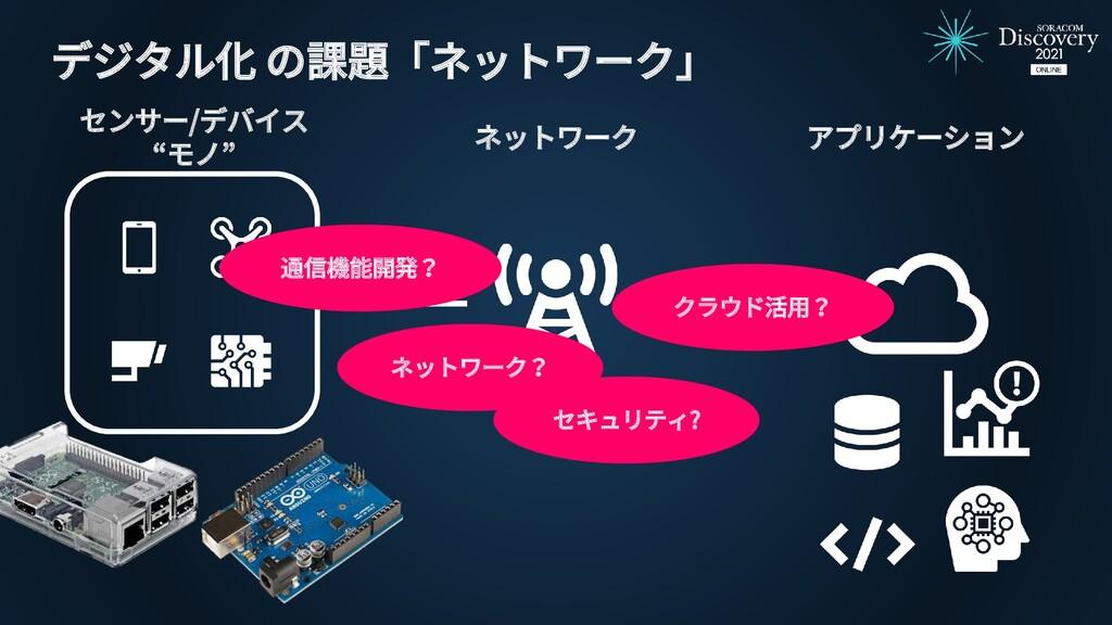 """アプリケーション ネットワーク センサー/デバイス """"モノ"""" デジタル化 の課題「ネットワーク..."""
