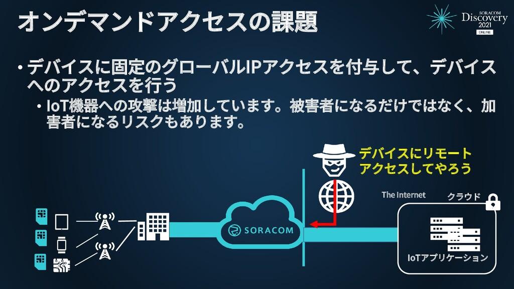 オンデマンドアクセスの課題 • デバイスに固定のグローバルIPアクセスを付与して、デバイス へ...