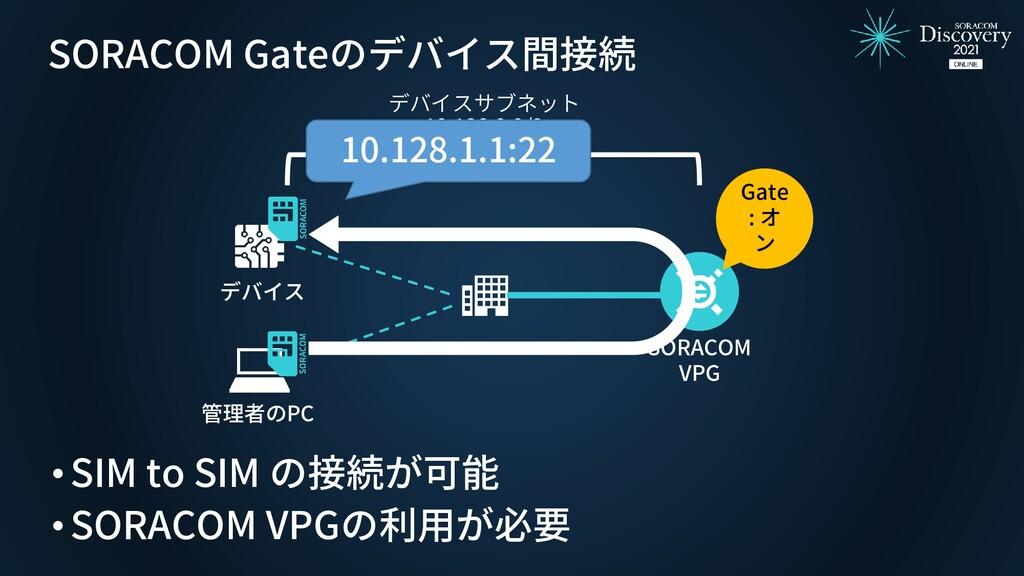 SORACOM Gateのデバイス間接続 デバイス SORACOM VPG デバイスサブネット...