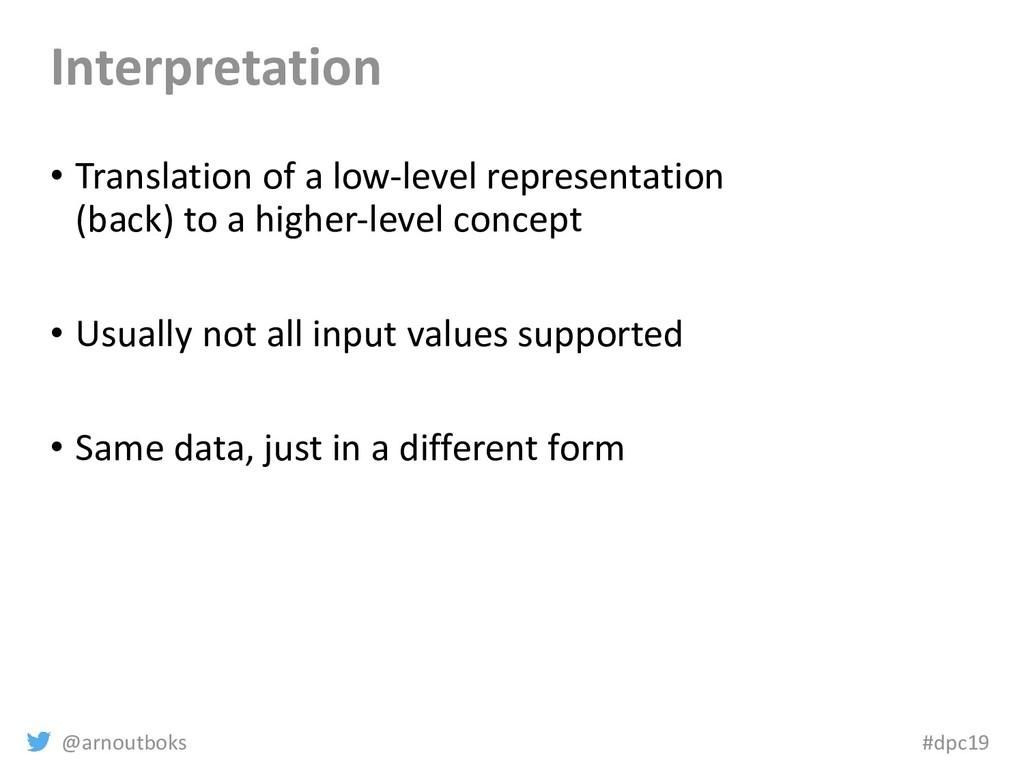 @arnoutboks #dpc19 Interpretation • Translation...