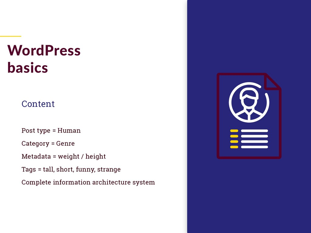 Content Post type = Human Category = Genre Meta...