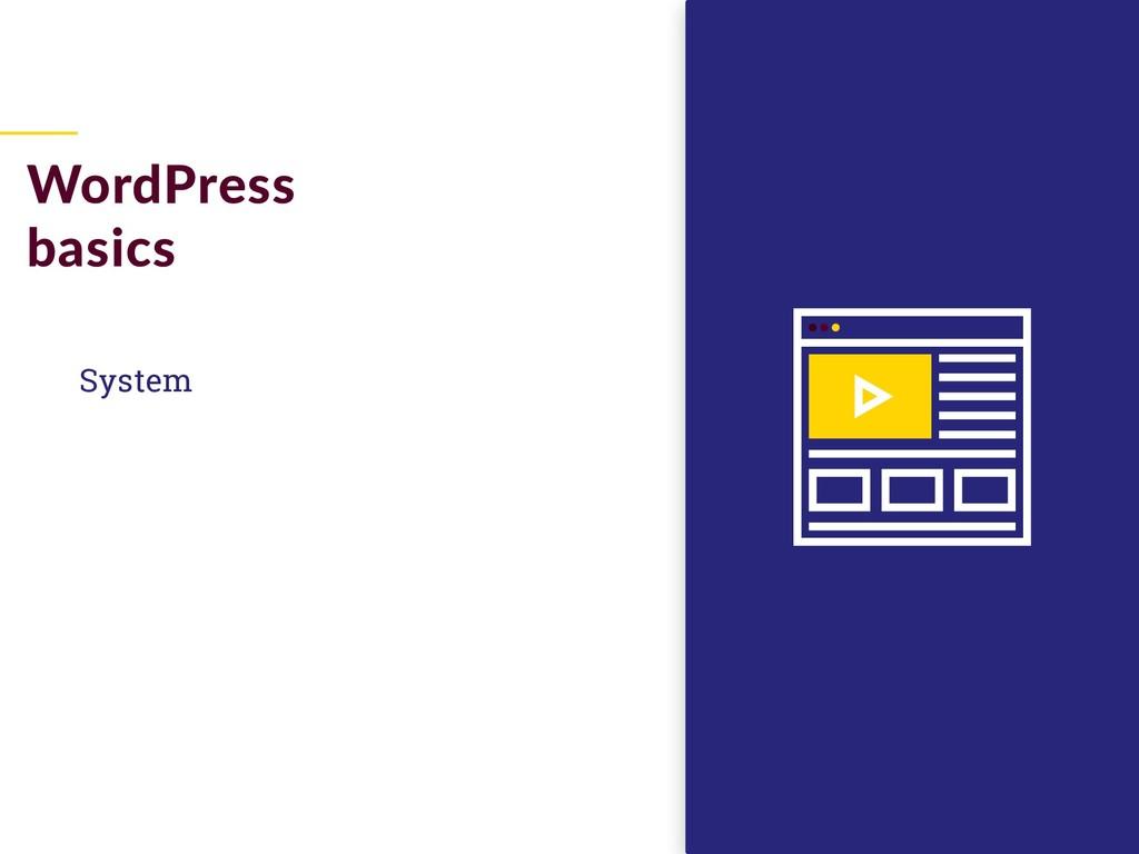 System WordPress basics