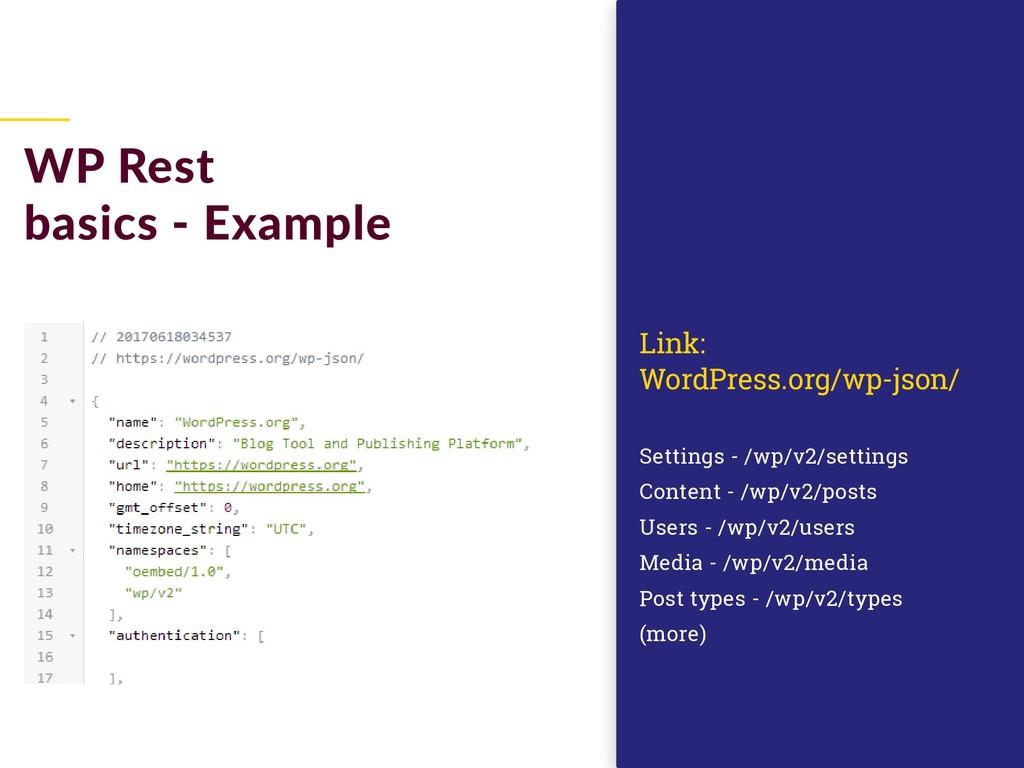WP Rest basics - Example Settings - /wp/v2/sett...