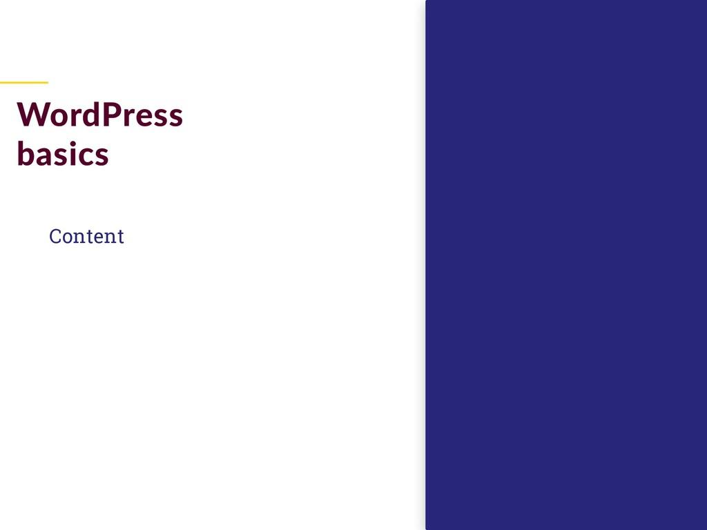 Content WordPress basics