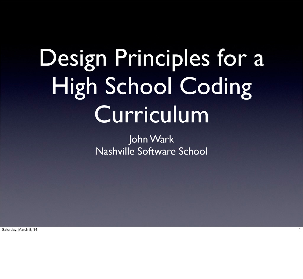 Design Principles for a High School Coding Curr...