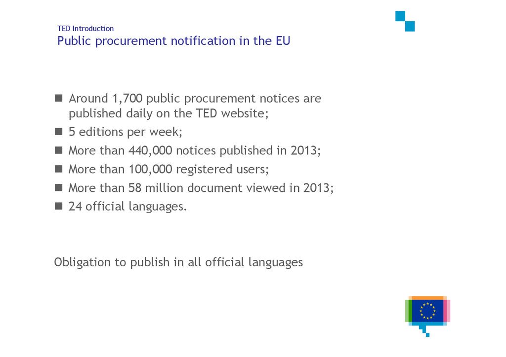 5 of 25 TED Introduction Public procurement not...