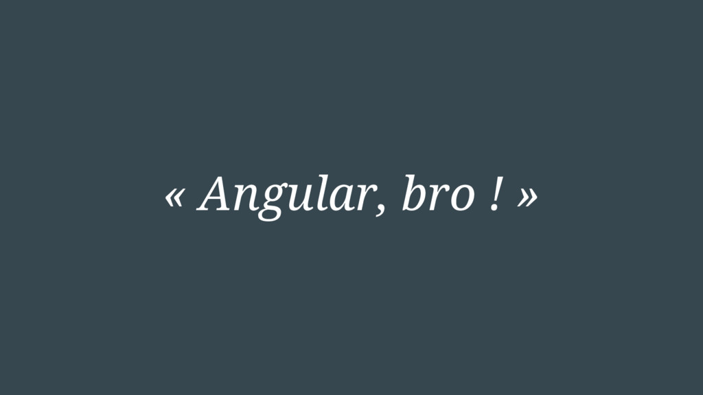 « Angular, bro ! »
