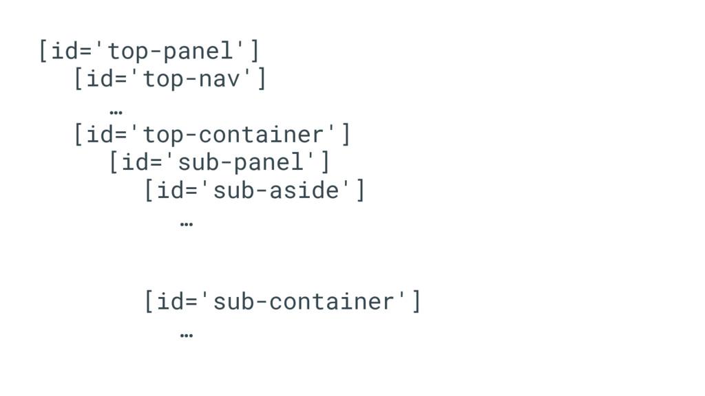 [id='top-panel'] [id='top-nav'] … [id='top-cont...