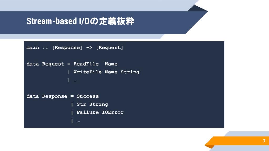 main :: [Response] -> [Request] data Request = ...
