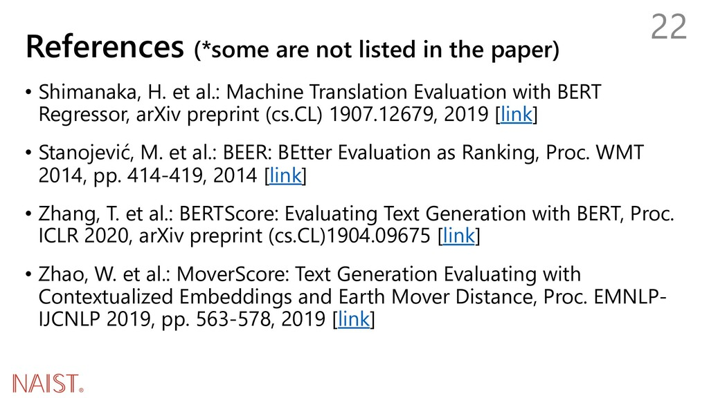 References (*some are not listed in the paper) ...