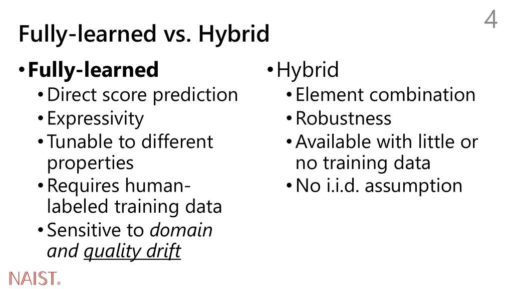 Fully-learned vs. Hybrid 4 •Fully-learned •Dire...
