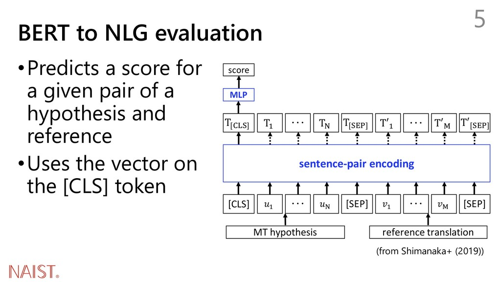 BERT to NLG evaluation 5 •Predicts a score for ...