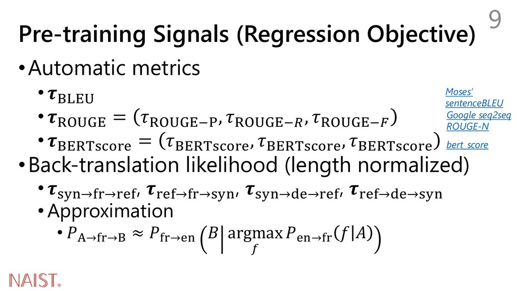 Pre-training Signals (Regression Objective) •Au...