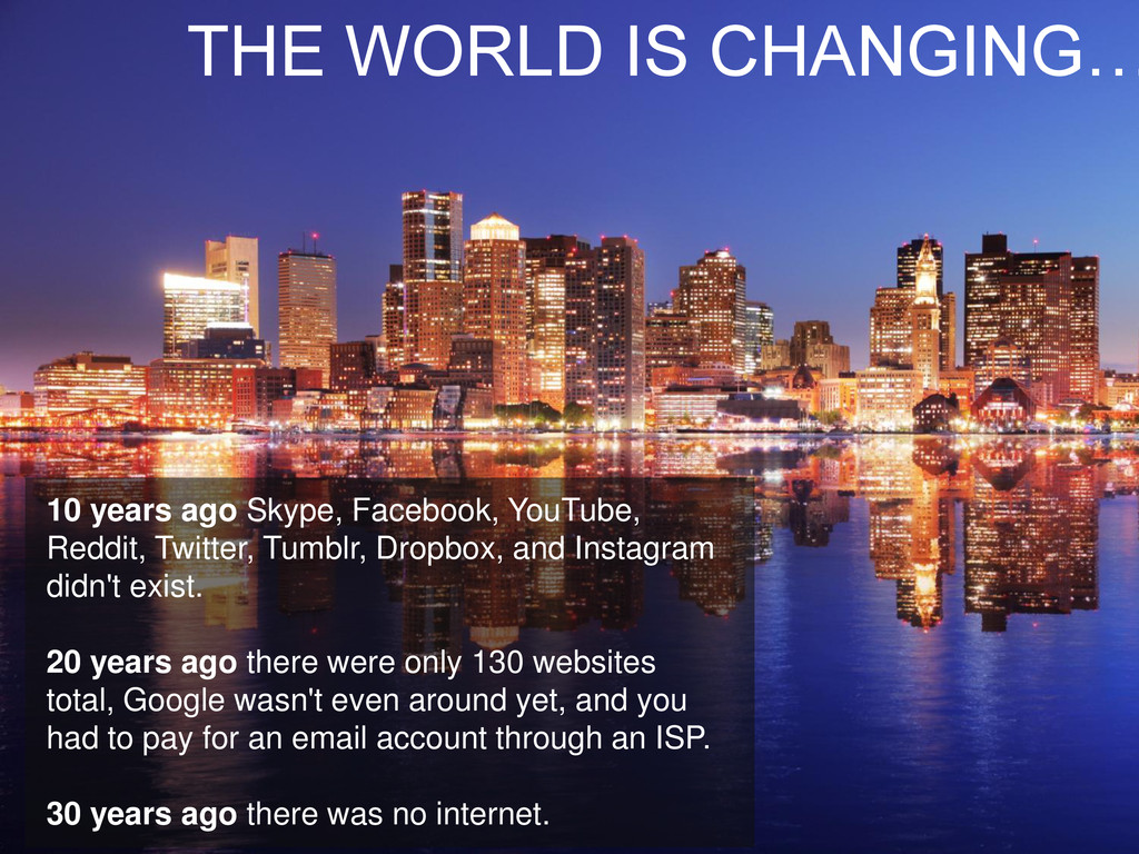 THE WORLD IS CHANGING… 10 years ago Skype, Face...