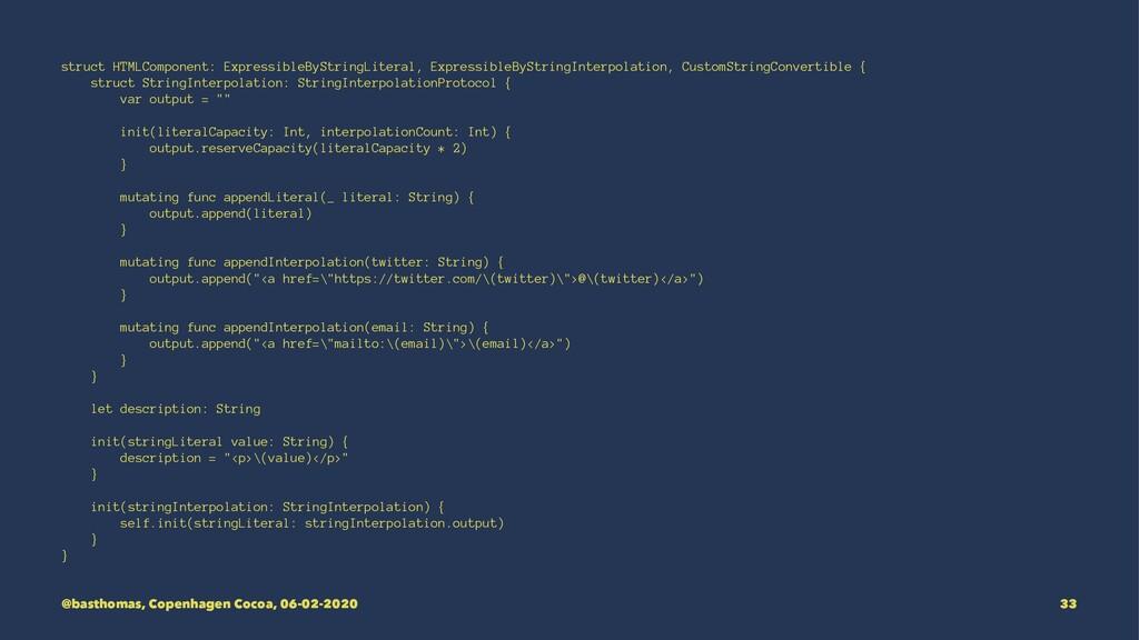 struct HTMLComponent: ExpressibleByStringLitera...