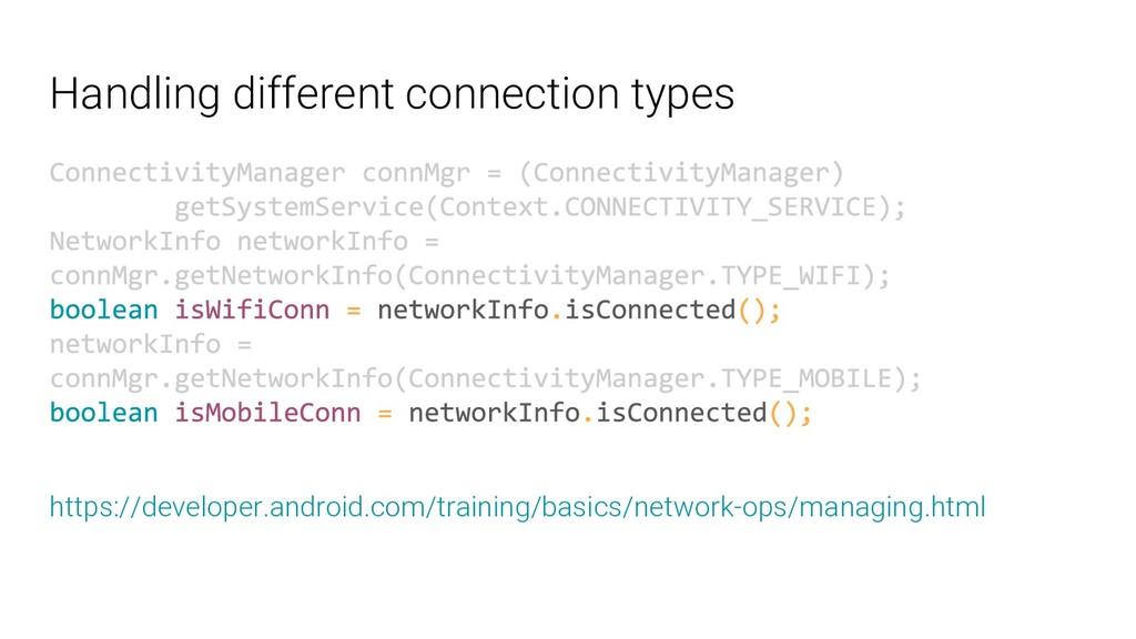 Handling different connection types https://dev...