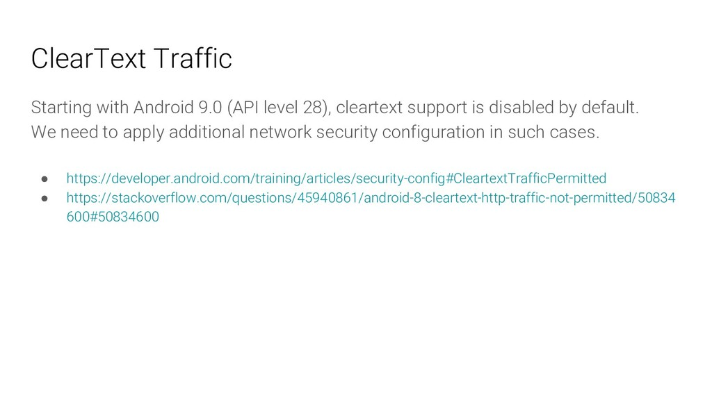 ClearText Traffic Starting with Android 9.0 (AP...