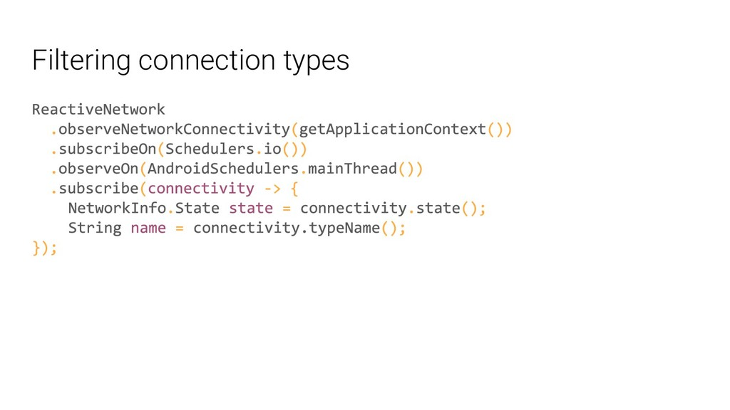 Filtering connection types