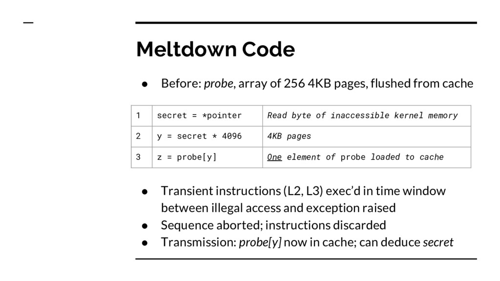 Meltdown Code ● Transient instructions (L2, L3)...