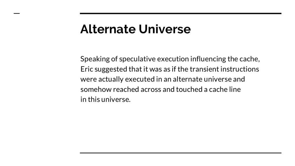 Alternate Universe Speaking of speculative exec...
