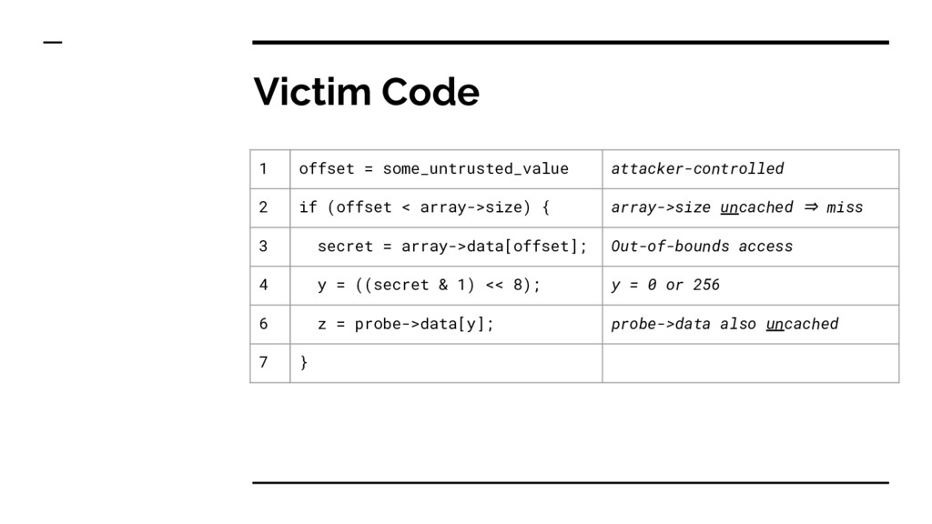 Victim Code 1 offset = some_untrusted_value att...