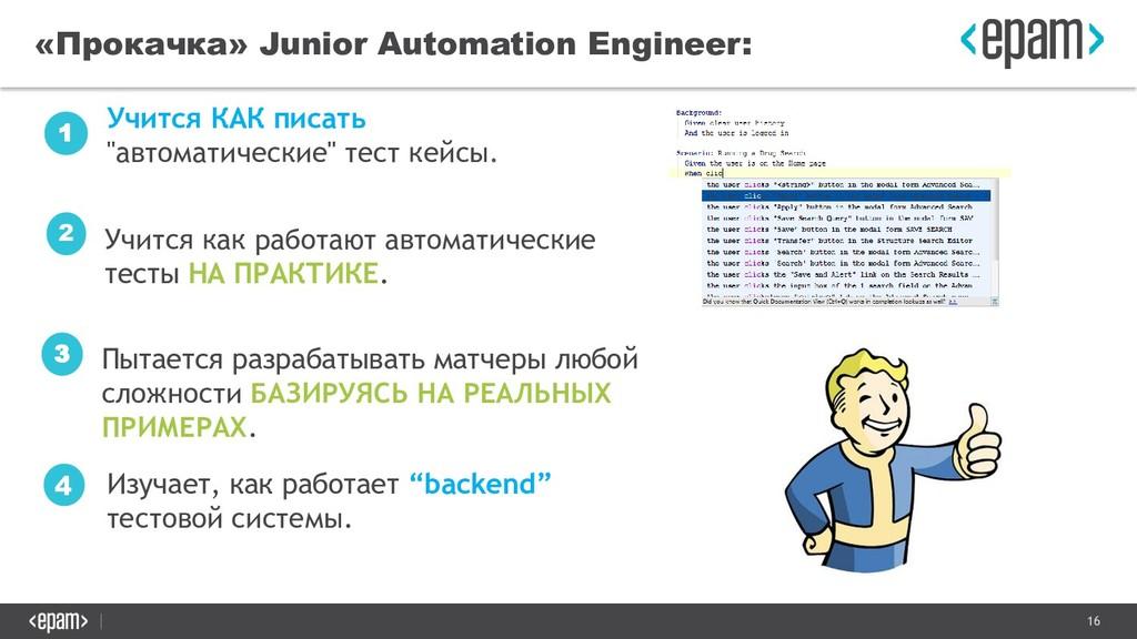 16 «Прокачка» Junior Automation Engineer: Учитс...