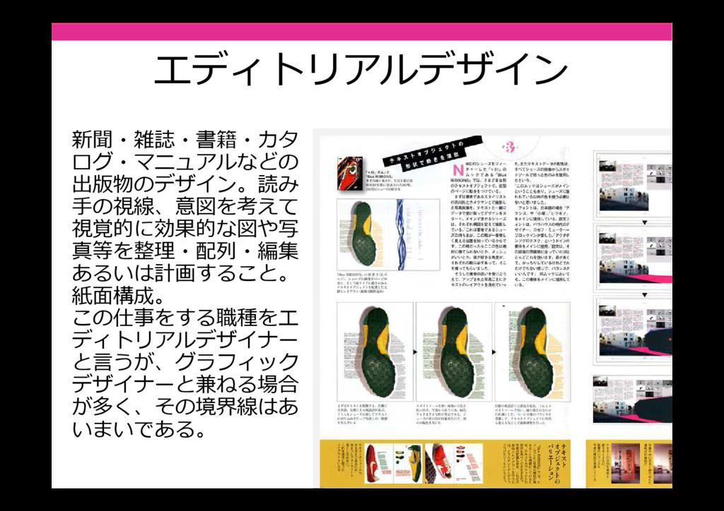 エディトリアルデザイン 新聞・雑誌・書籍・カタ ログ・マニュアルなどの 出版物のデザイン。読み...