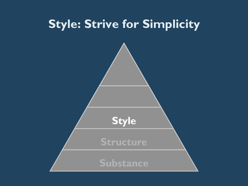 Style: Strive for Simplicity Substance Structur...