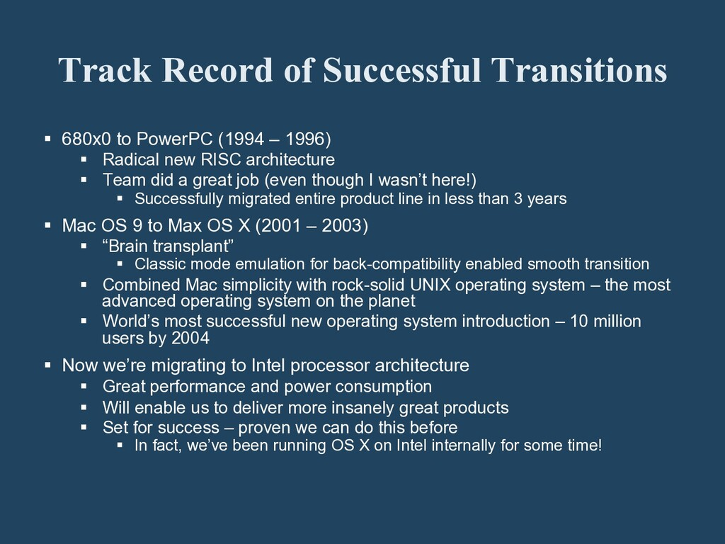 Track Record of Successful Transitions § 680x...