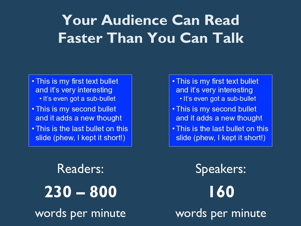 Readers: 230 – 800 words per minute •This is m...