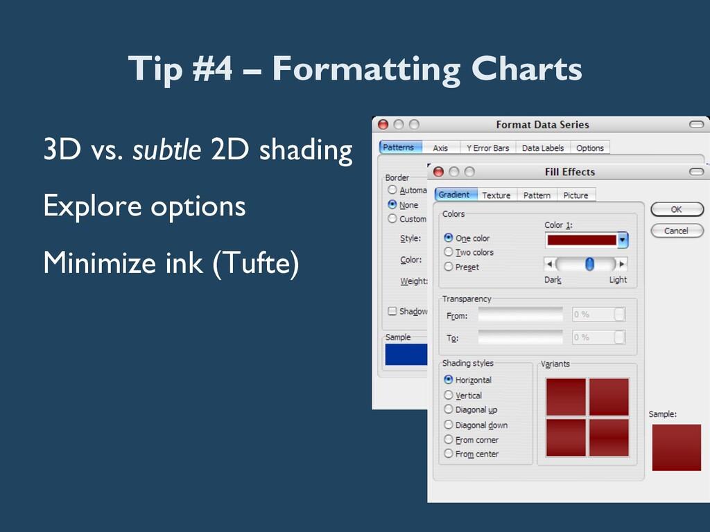 Tip #4 – Formatting Charts 3D vs. subtle 2D sha...