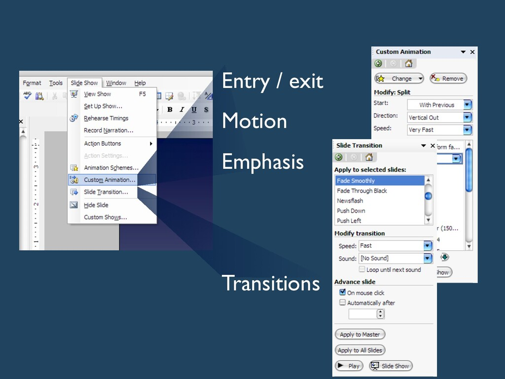 Entry / exit Motion Emphasis Transitions