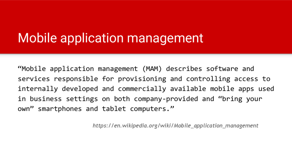"Mobile application management ""Mobile applicati..."