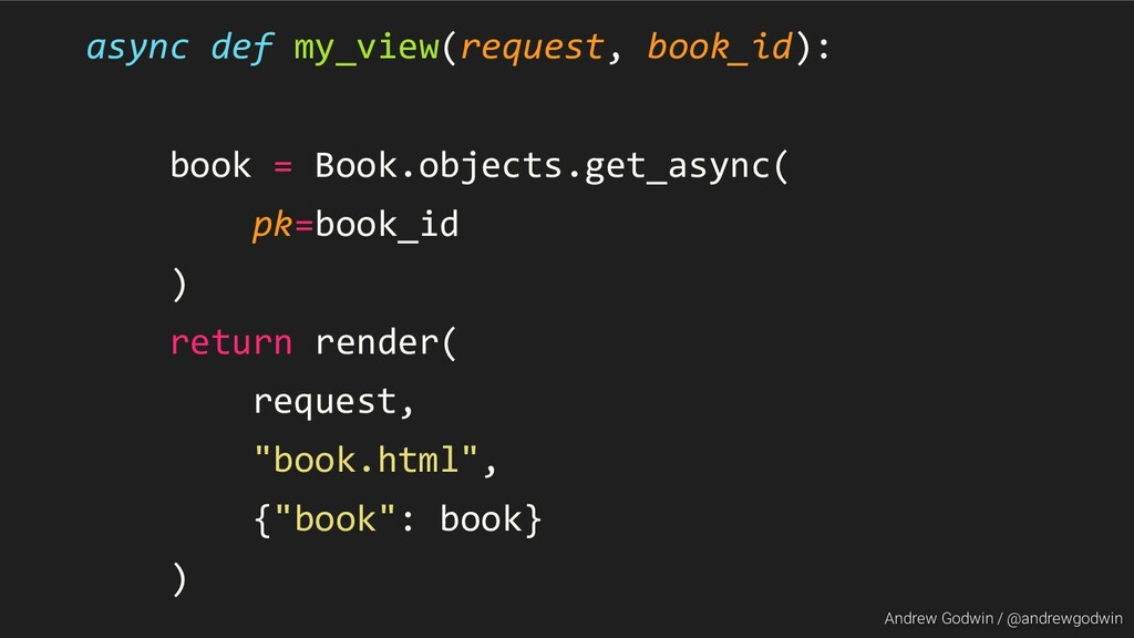 Andrew Godwin / @andrewgodwin async def my_view...