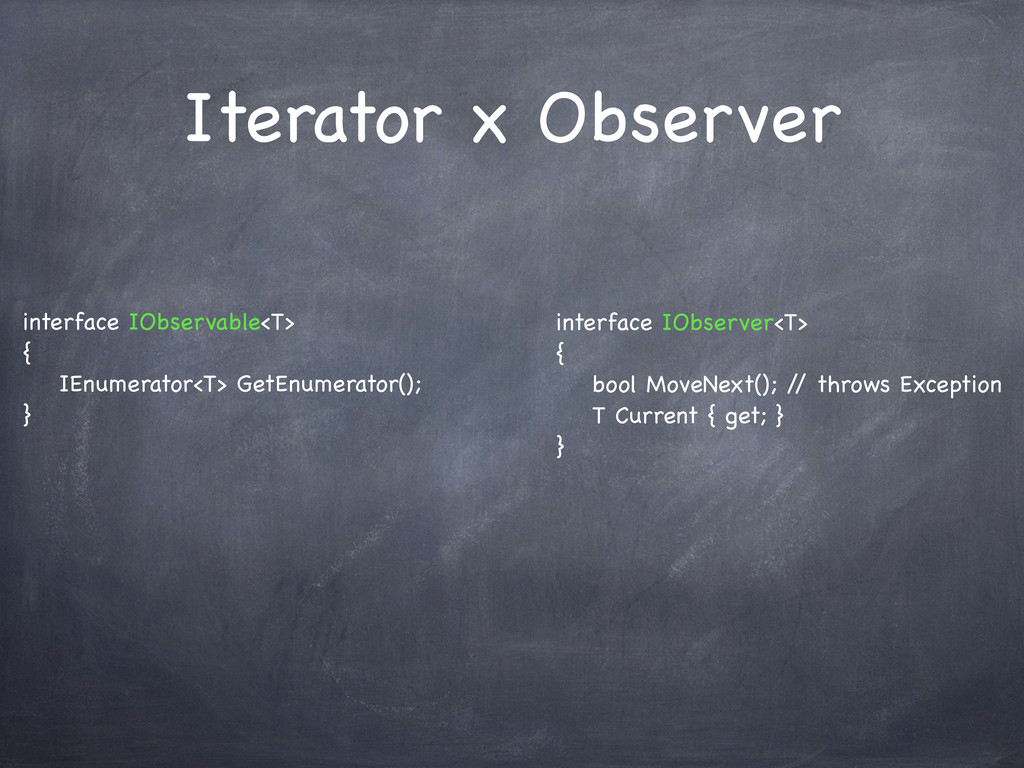 Iterator x Observer interface IObservable<T> { ...