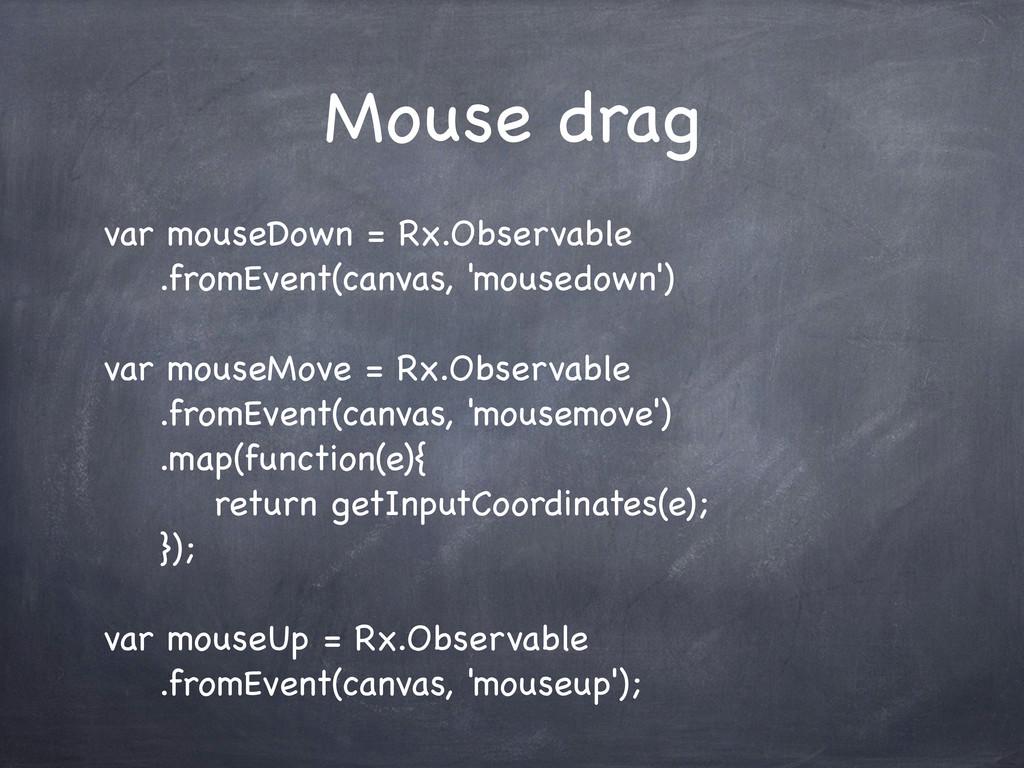Mouse drag var mouseDown = Rx.Observable .fromE...