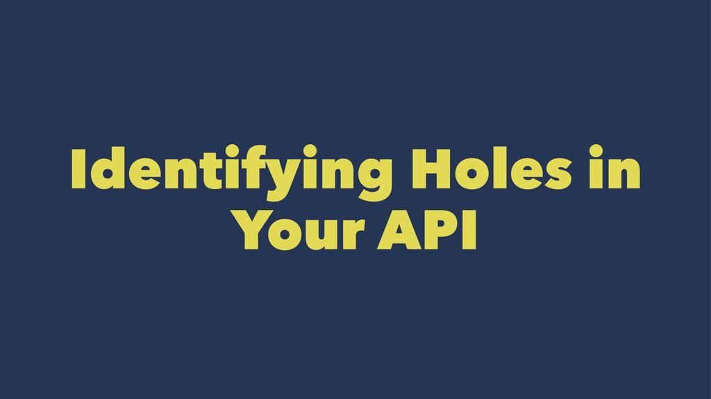 Identifying Holes in Your API