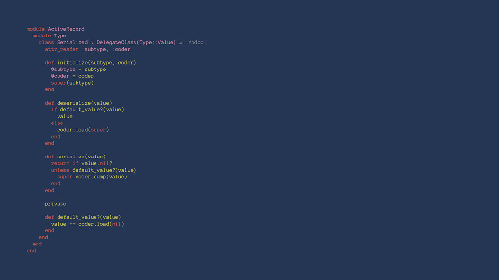 module ActiveRecord module Type class Serialize...