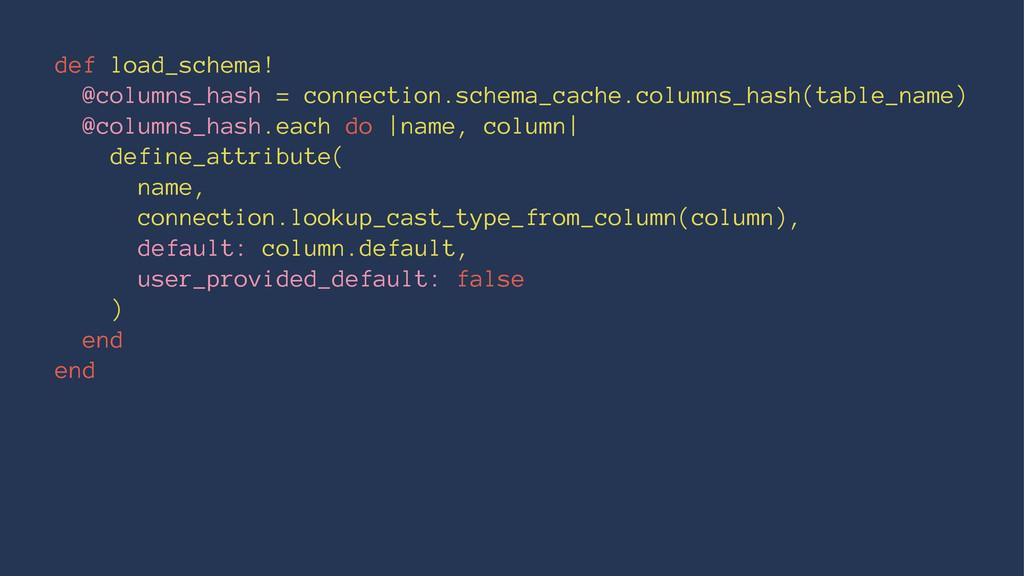 def load_schema! @columns_hash = connection.sch...